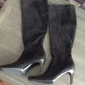 Suede knee high heeled boots. NWOT